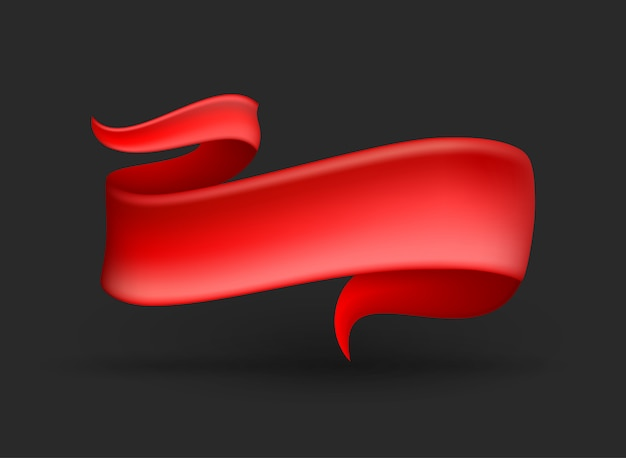 Red ribbon banner on background