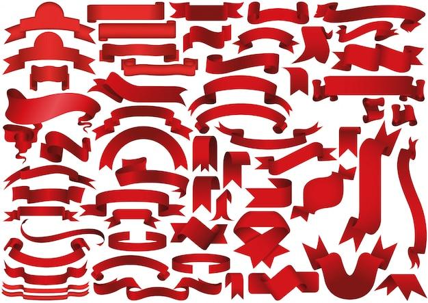 Red ribbon or banner set