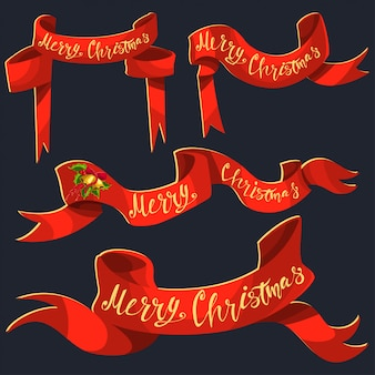 Red ribbon banner with merry christmas hand draw text.