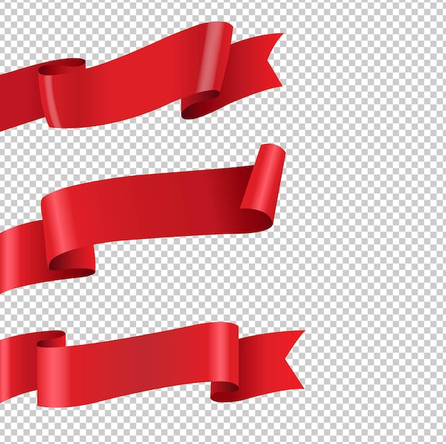 Red ribbon big set isolated transparent background