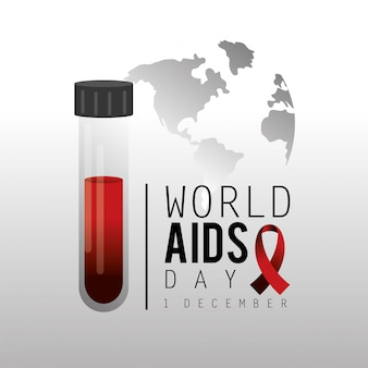Red ribbon and blood to aids day