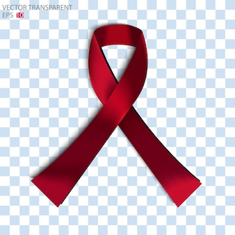 Red ribbon and bow on the checked background