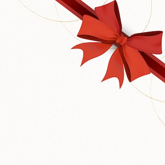 Red ribbon bow element on beige background