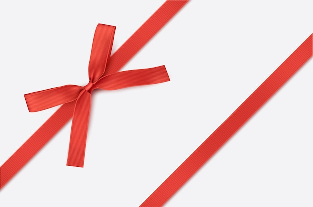 Red ribbon and bow isolated decoration for gift cards for gift boxes or christmas illustration