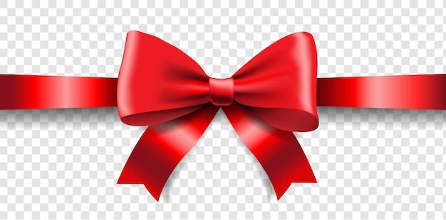 赤いリボンの弓は、グラデーションメッシュで透明な背景を分離しました
