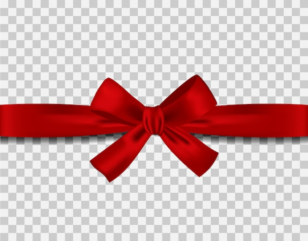 Red ribbon and bow on transparent background vecto