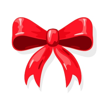 Red ribbon bow for wrapping gift present box, holiday packaging.