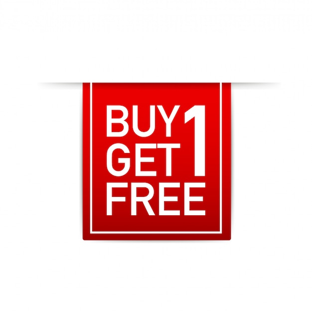 Red ribbon buy 1 get 1 free, sale tag, banner design template.  illustration.