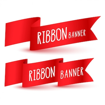 Red ribbon flag set