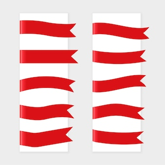 Red ribbon flags set of ten