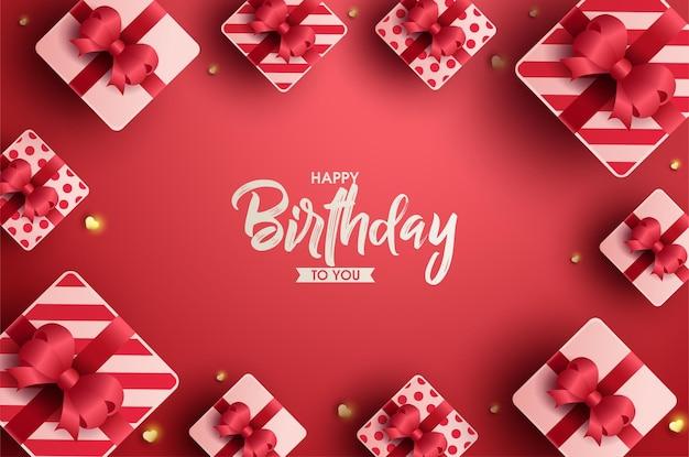 생일 축하 배경에 빨간 리본 선물 상자 프레임