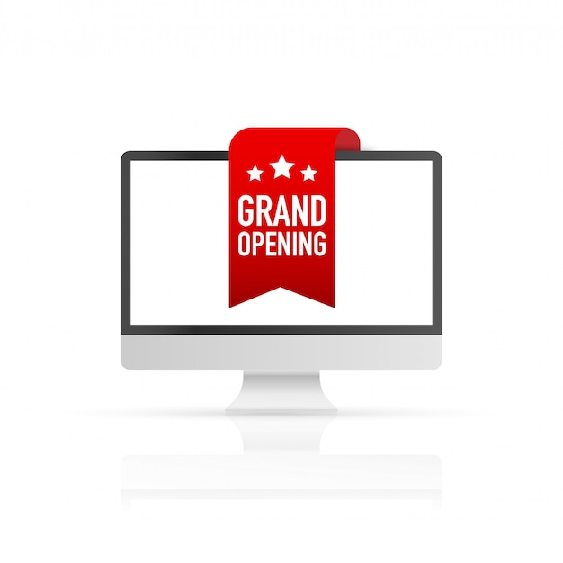 Red ribbon grand opening on screen computer. vector illustration.