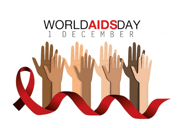 Red ribbon and hands up to prevention aids