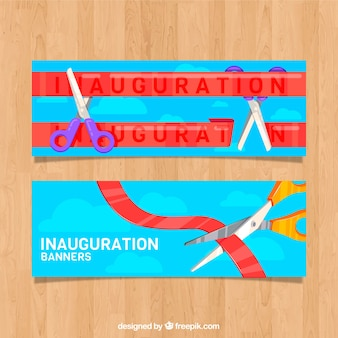 Red ribbon inauguration banners