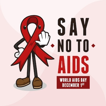 Red ribbon mascot say no to aids .jpg