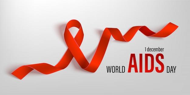 Красная лента всемирного дня борьбы со спидом вектор баннер