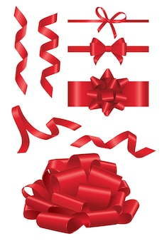 Red ribbon- realistic modern vector set of different shape objects. white background. use this quality clip art elements for your design. cut the red ribbon, open a show, decorate a present.