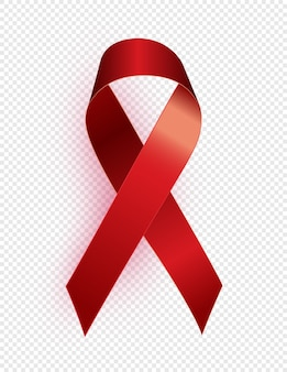 赤いリボンのシンボル。 12月1日世界エイズデーのコンセプト。