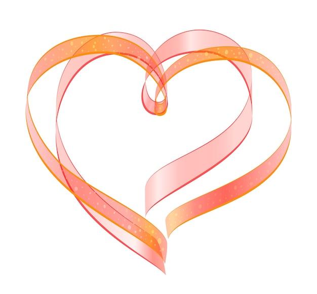 Красная лента два символа формы сердца любви. изолированные на белом