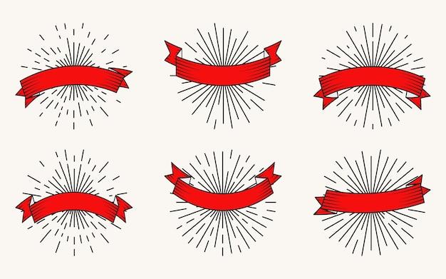 黒の等高線と太陽光線と赤いリボン