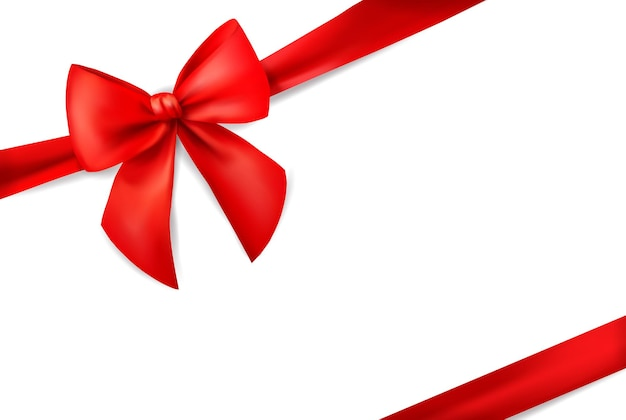 Red ribbon with bow for card on white background xmas present holiday decoration realistic d vector ...