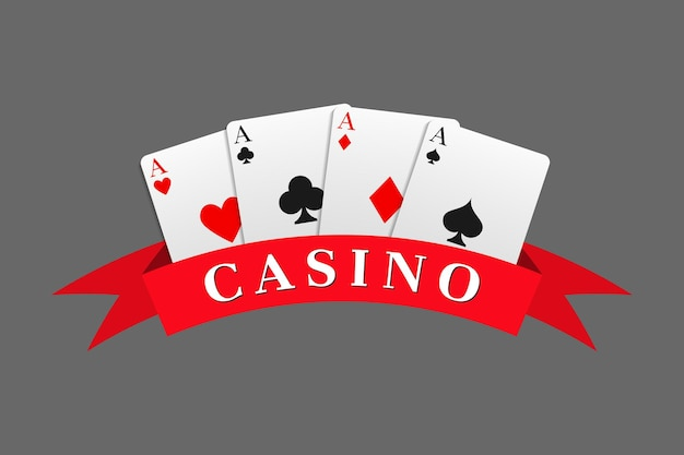 Red ribbon with the casino inscription combined with a four aces card combination. can be used as a logo, banner, background. vector illustration in a realistic style.