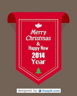 Red Ribbon with Merry Christmas and Happy New Year 2014 text
