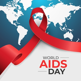 Red ribbon in world aids day concept