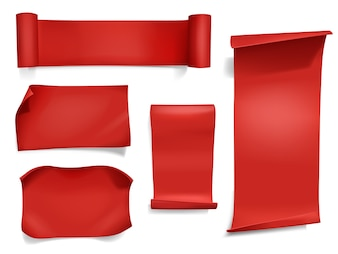 Red ribbons and banners illustration. 3D realistic curved paper, satin textile or silk scroll