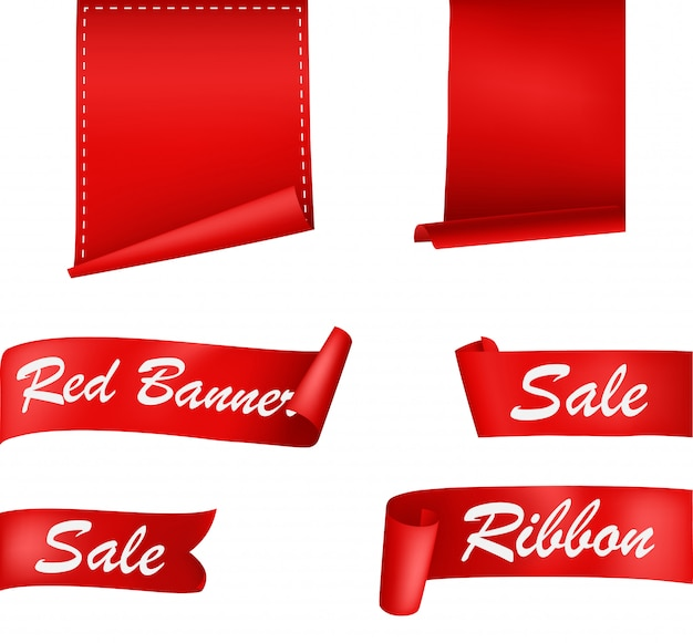Red ribbons banners set