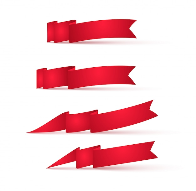 Red ribbons banners.