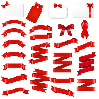 Red ribbons origami set