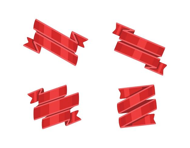 赤いリボンセット、白い背景で隔離。装飾的なリボンバナーコレクション。