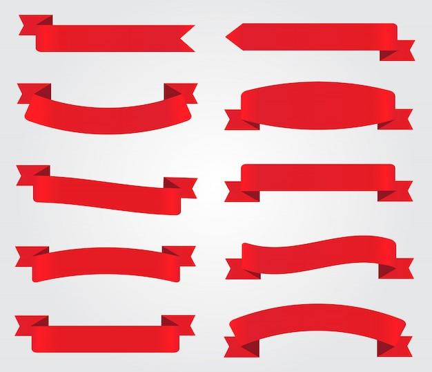 Red ribbons set