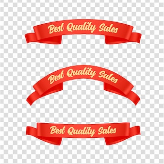 Red ribbons tags set
