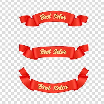 Red ribbons tags set