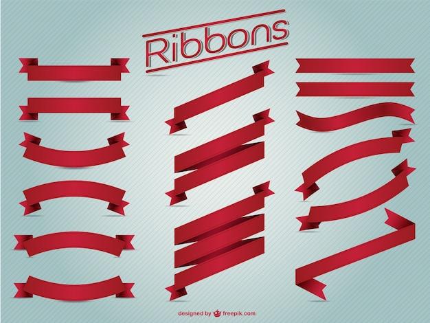 Red ribbons vintage set