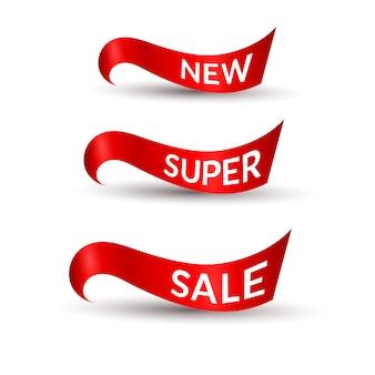 Красные ленты с текстом новой супер распродажи изолированного