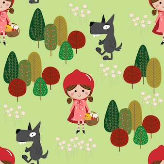 Red riding hood and big bad wolf seamless pattern