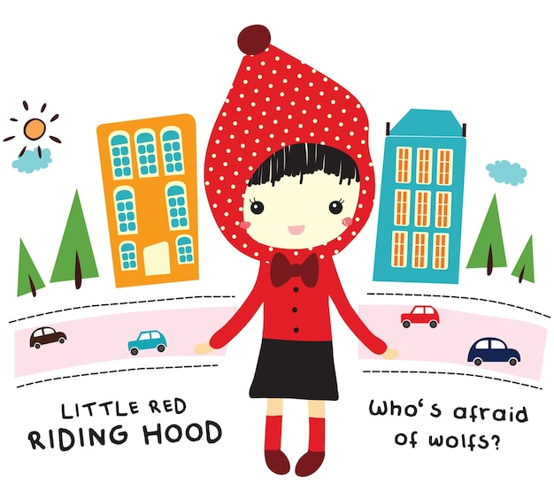 Red riding hood doodle vector