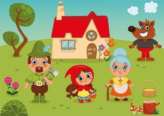 Красная шапочка сказочные персонажи мультфильмов набор векторные иллюстрации