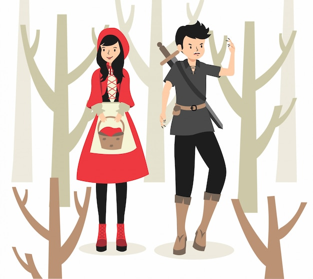 Red riding hood and werewolf illustration