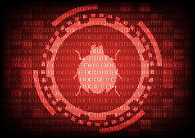 Red of ring and gears with malware bug a computer virus