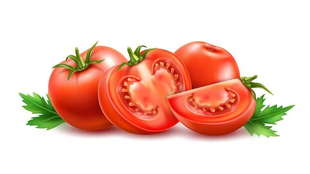 빨간색 잘 익은 토마토 전체 및 잎 3d 육즙 원시 야채와 슬라이스 세트 프리미엄 벡터