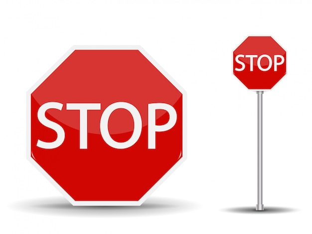 Red road sign stop.