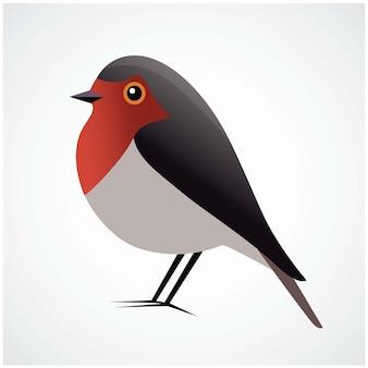 Red robin logo bird vector illustration flat design