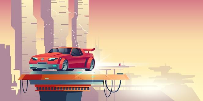변압기의 실루엣과 빨간 로봇 자동차