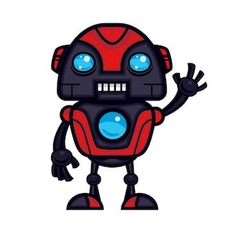 빨간 로봇 마스코트 디자인