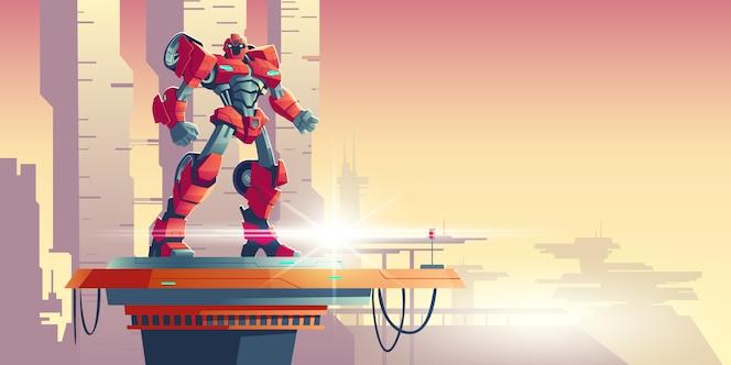 Red robot transformer alien invader on spaceship