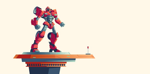 Red robot transformer alien invader on spaceship